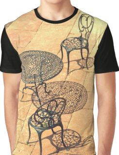 Wrought Iron Chairs & Shadows Graphic T-Shirt