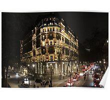 London Embankment at Night Poster