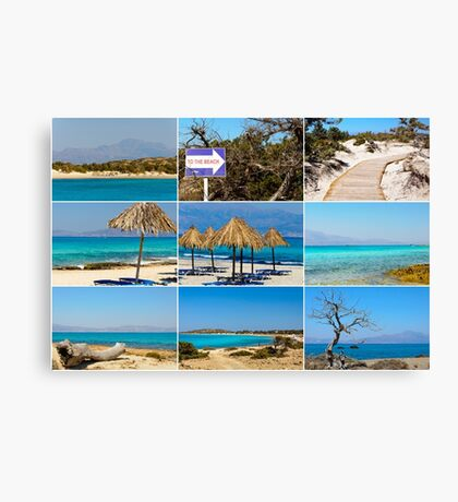 Photo collage with images of Chrissi Island, near Crete, Greece Canvas Print