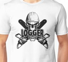 Logger Skull: Crossed Chainsaws Unisex T-Shirt