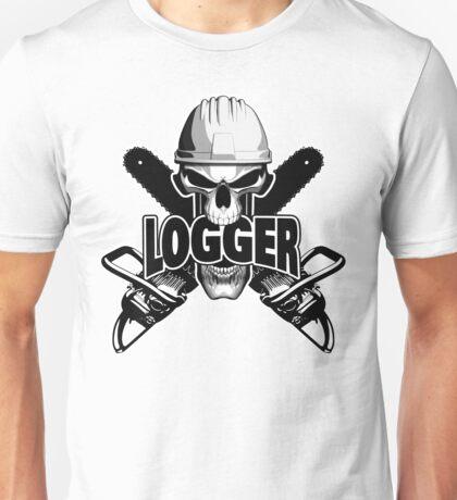 Logger Skull: Crossed Chainsaws Unisex T-Shirt