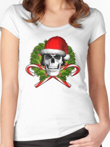Santa Skull and Wreath Women's Fitted Scoop T-Shirt