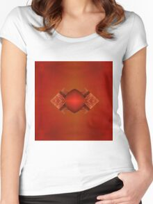Abstraktes Design in rot Women's Fitted Scoop T-Shirt