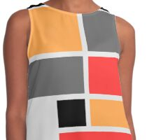 Mondrian style design orange red black gray Contrast Tank