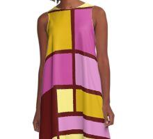 Mondrian style design yellow fuchsia A-Line Dress