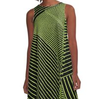Line Art - Geometric Illusion, abstraction yellow A-Line Dress