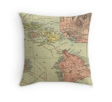 Vintage Map of Hawaii (1912) Throw Pillow