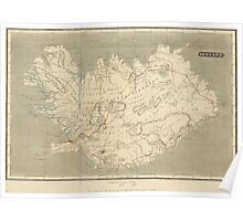 Vintage Map of Iceland (1819) Poster