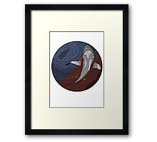 Jaws Colour Line Drawing Framed Print