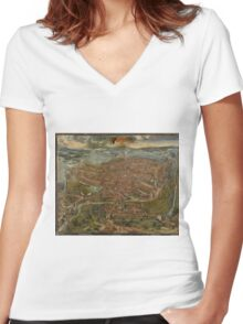 Vintage Map of Ghent Belgium (1534) Women's Fitted V-Neck T-Shirt