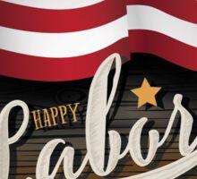 Labor Day wooden American flag design.  Sticker