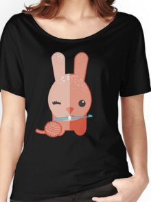 Cute winking bunny rabbit ball of yarn crochet hook Women's Relaxed Fit T-Shirt