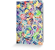 Easter Sunrise Swirls Twirling Eggs Colors Yellow Orange Green Turquoise Blue Purple Violet Shapes Abstract Greeting Card