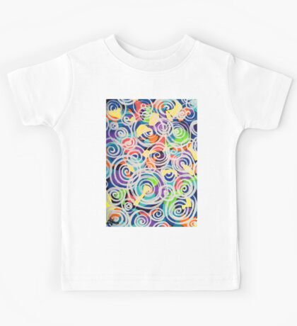 Easter Sunrise Swirls Twirling Eggs Colors Yellow Orange Green Turquoise Blue Purple Violet Shapes Abstract Kids Tee