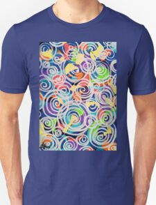 Easter Sunrise Swirls Twirling Eggs Colors Yellow Orange Green Turquoise Blue Purple Violet Shapes Abstract Unisex T-Shirt