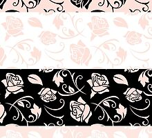 Pattern Of Roses, Flowers, Leaves - Pink Black by sitnica
