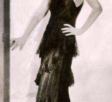 1920s Flapper Glamor Girl in a Black Lace Dress Sticker