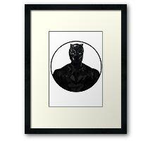 Black Panther Colour Line Drawing Framed Print