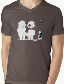 Penguin Become To Panda Mens V-Neck T-Shirt