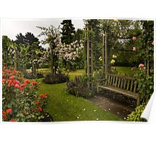 It is Raining Rose Petals - Queen Mary Gardens on a Rainy London Day Poster