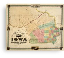 Vintage Map of Iowa (1845) Metal Print