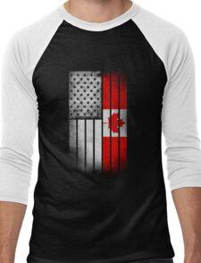 Canadian American Flag - Half Canadian Half American  Men's Baseball ¾ T-Shirt