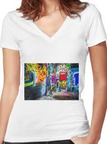 Street Art Women's Fitted V-Neck T-Shirt