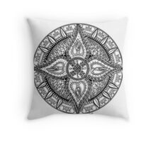 Mandala with big leafs Throw Pillow