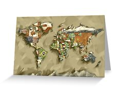 world map flags 2 Greeting Card