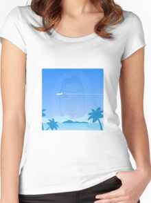 Girls beach illusion Women's Fitted Scoop T-Shirt