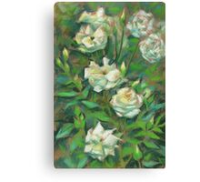 """""""White roses, green leaves"""", pastel painting, floral art Canvas Print"""
