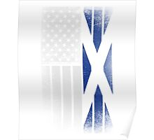 Scottish American Flag - Half Scottish Half American Poster