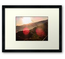 Sunset Beyond Mountains Framed Print