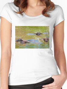 Herd of Thai buffalo cooling in during the day Women's Fitted Scoop T-Shirt