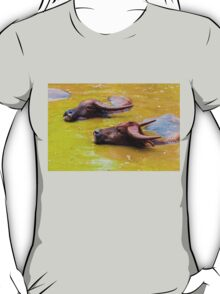 Herd of Thai buffalo cooling in during the day T-Shirt
