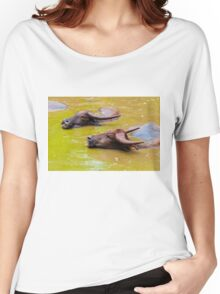 Herd of Thai buffalo cooling in during the day Women's Relaxed Fit T-Shirt