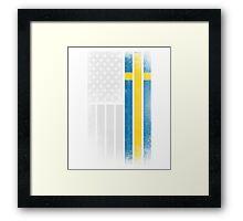 Swedish American Flag - Half Swede Half American Framed Print
