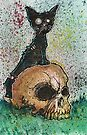 Black Cat with a Skull by byronrempel