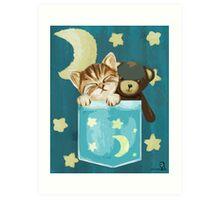 Sleepy Kitty In A Pocket Art Print