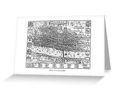 Vintage Map of London England (1593) Greeting Card