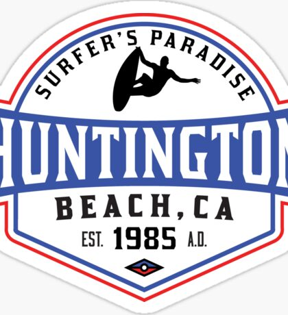 Surfing HUNTINGTON BEACH CALIFORNIA Surf Surfer Surfboard Waves Ocean SURFER'S PARADISE Sticker