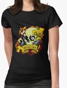 Just Breath Skull Womens Fitted T-Shirt
