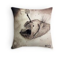 Angler fish with a butterfly Throw Pillow
