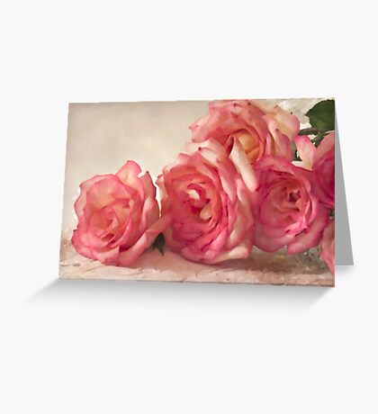 Rosy Elegance - Digital Watercolor  Greeting Card