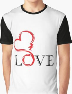 abstract red heart with black letter love. tatoo. vector Graphic T-Shirt