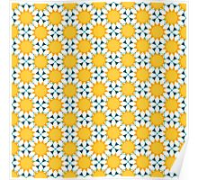 seamless pattern with abstract white chamomile flowers. vector Poster