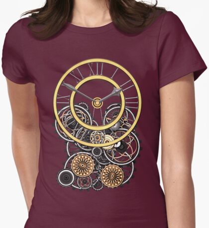 Stylish Vintage Steampunk Timepiece Womens Fitted T-Shirt