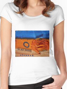 Collage Nr. 6 : orange, blue and wood Women's Fitted Scoop T-Shirt