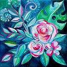 Tropical Camellia Extravaganza - oil on canvas by micklyn