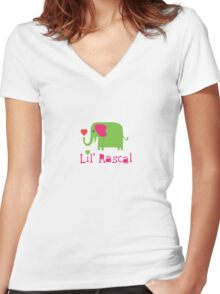 Elephant Lil Rascal green Women's Fitted V-Neck T-Shirt